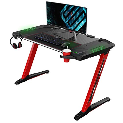 EUREKA ERGONOMIC Z2 Gaming Desk 50.6'' Z Shaped Office PC Computer Gaming Table with Retractable Cup Holder Headset Hook RGB Light, Red
