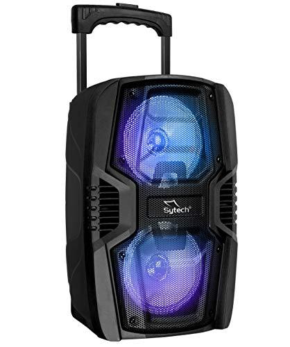 """Sytech SYXTR24BT- Altavoz Portátil Profesional 2X6,5"""" """"Techno Dual"""" Bluetooth Trolley Inalámbrico 150W, Función TWS, Color Negro"""