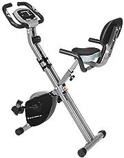 SONGMICS Bicicleta de Ejercicio, Bicicleta Estática, Bicicleta Fitness en Casa, Plegable con Respaldo, Sensor de Pulso, 8 Niveles de Resistencia Magnética, Peso Máx. 100 kg
