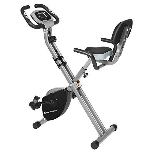 SONGMICS Bicicleta de Ejercicio, Bicicleta Estática, Bicicleta Fitness en Casa, Plegable con Respaldo, Sensor de Pulso, 8 Niveles de Resistencia Magnética, Peso Máx. 100 kg, Negro y Gris SEB012B01