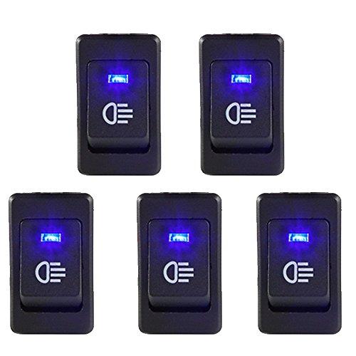 E Support™ 5 X KFZ Auto Boot Kippschalter Druckschalter Schalter 12V Blau LED Licht Nebelscheinwerfer