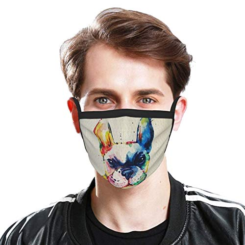 Gocerktr Watercolor French Bulldog Mouth Cover for Men & Women Washable Reusable Dustproof Face Cover for Outdoor Activities