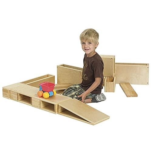 ECR4Kids-ELR-0342 Oversized Hollow Wooden Block Set for Kids' Play, Natural 18-Piece Set of Wood Blocks, Building Blocks, Wooden Toys, Toddler Building Toys, Building Blocks for Toddlers