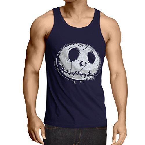 lepni.me Camisetas de Tirantes para Hombre cráneo asustadizo Cara - Pesadilla - Ropa de Fiesta de Halloween (Small Azul Multicolor)