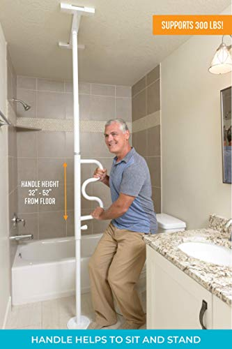 Stander Security Pole and Curve Grab Bar, Elderly Tension Mounted Floor to Ceiling Transfer Pole, Bathroom Safety Assist and Stability Rail, Iceberg White