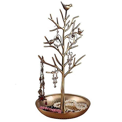 cajas para joyas Joyería soporte de exhibición, en forma de árbol creativo del estante de joyería retro del pájaro, anillo del collar de hierro Home Base de escritorio Con objeto pequeño de almacenami