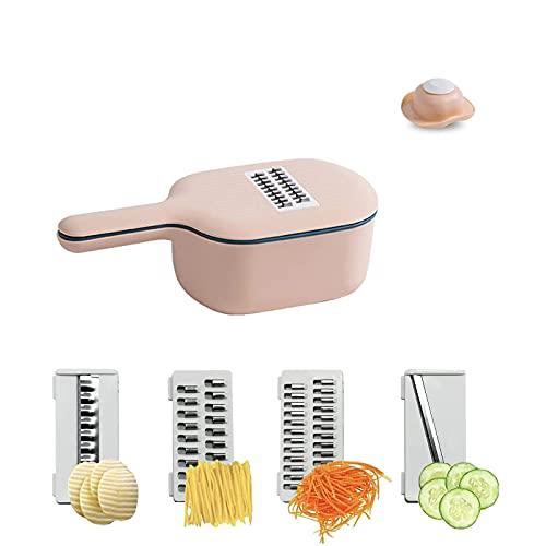 WENTING Cortador de cebolla multifunción para el hogar Rallador de alimentos con cesta de drenaje, cortador y dados para cebolla, zanahoria, patata, tomate, fruta (rosa)