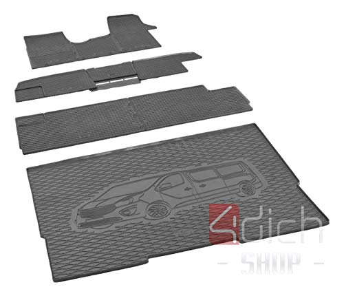 Tapis de coffre et tapis de sol en caoutchouc sur mesure pour Renault Trafic à partir de 2014 L2 – Lot de 1