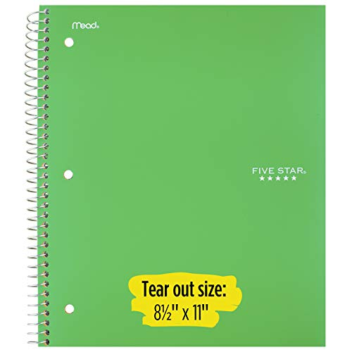 """Five Star Spiral Notebook, 1 Subject, College Ruled Paper, 100 Sheets, 11"""" x 8-1/2"""", School, Wired, Green (72055) Photo #2"""