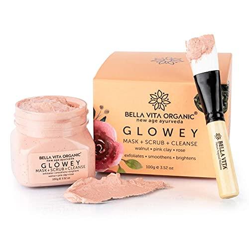 Glamorous Hub Bella Vita Organic Glowey Face Pack, Scrub & Face Wash 3 en 1 pour une peau éclatante et un éclat Ayurveda unisexe avec pinceau applicateur gratuit pour le visage (100 g)