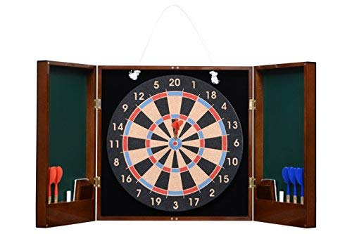 Cerasus Wooden Dart Board with Premium High Gloss British Walnut Cabinet Ideal for Home Wall Decor / Party Game / House Warming Gift