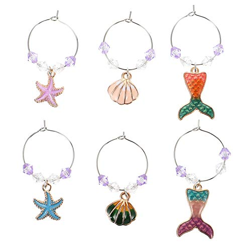 ABOOFAN 6Pcs Party Wine Glass Shell Charms Rings Ocean Themed Glass Drink Markers Tags