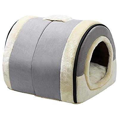 Hollypet Suede Self-Warming 2 in 1 Foldable Cave House Shape Nest Pet Sleeping Bed for Cats and Small Dogs, Baby Gray