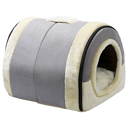 Hollypet Cat Bed Dog Bed Self-Warming 2-in-1 Foldable Pet Bed for Cats and Small Dogs Pet Tent Cave Bed, Crystal Velvet Indoor Outdoor, Light Grey