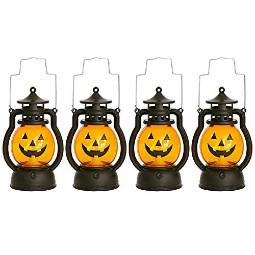 Linterna de Llama de Halloween 4 Piezas Linterna de Calabaza de Halloween Linterna de Calabaza LED Luz de Noche Linternas de Vela Decorativas Lámpara de Viento Colgante para Exteriores Lámpara Viento