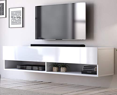 TV Unterteil TV Lowboard Epsom in Hochglanz weiß hängend Fernsehschrank 140 x 30 cm