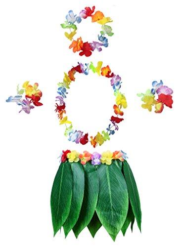 KEFAN Gonna a Foglia Hula e Gonna Hawaiana con Gonna in Erba con Fiori di Ibisco Artificiale per Costume Hula e Festa in Spiaggia (B)