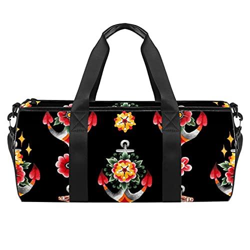 Decorazioni floreali dipinte in stile tatuaggio vecchia scuola sport palestra borsa cilindrica viaggio borsone con tasca bagnata leggera borsa allenamento viaggio con tracolla per uomini donne