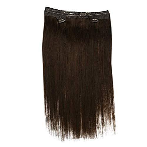 Easyouth Clip in Haarverlängerung 14 Zoll 2Pcs 30g Spitze Clip auf Haar mit 1 Stück 70g Halo Piece Farbe 4 Dunkelbrauner Spitzen-Clip auf Haarverlängerung für Frauen