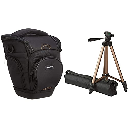 Amazon Basics - Trípode Ligero para fotografía (127cm) + Funda para cámara de Fotos réflex, Color Negro