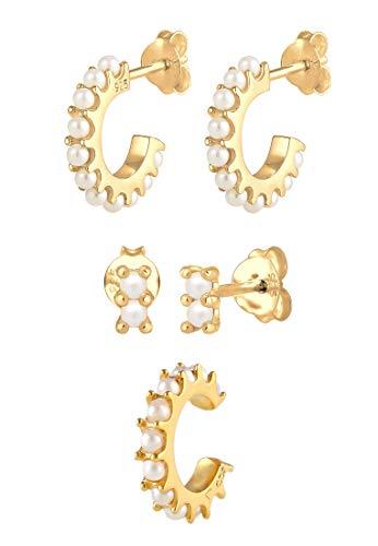 Elli Ohrringe Damen Creolen Ohrstecker Earcuff mit Swarovski® Perlen in 925 Sterling Silber Vergoldet