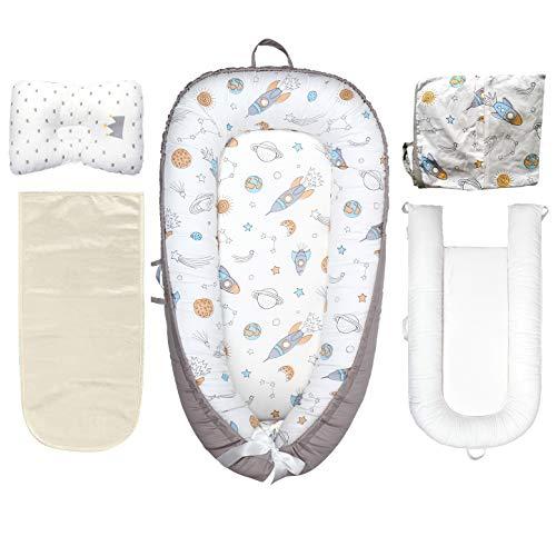 ARNTY Cama Nido de Bebé,Reductor de Cuna Nidos para Bebe,90 * 50cm Algodón Nido Bebé Recién Nacido Suave y Transpirable (Universo)
