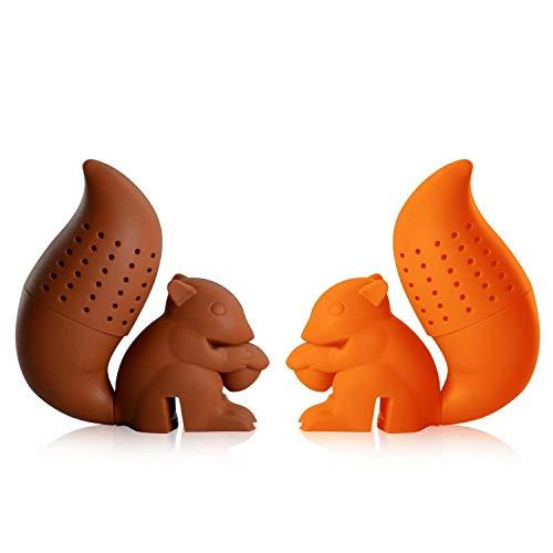 iNeibo Teesieb Teefilter aus Lebensmittelechtem und BPA freiem Silikon, sehr lustiges Teeei mit Eichhörnchen Design 2er Set