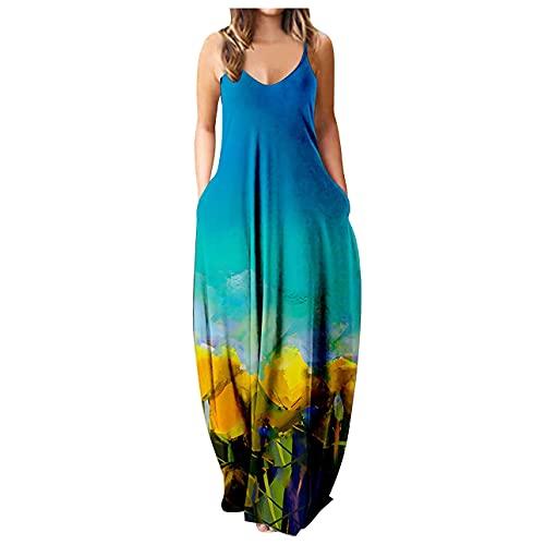Pabuyafa Vestido de mujer con estampado floral bohemio, informal, con correa de espagueti, largo para verano, playa, con bolsillo, azul, XXXL