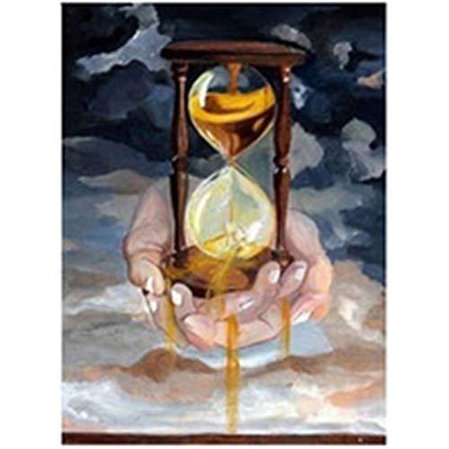 DIY 5D Pintura Diamante Taladro Completo Kit Reloj de arena para Adultos por Número Redondo Cristal Rhinestone Bordado Punto de Cruz Lienzo Diamond Painting Arte Craft Decoración del Hogar 40x50cm