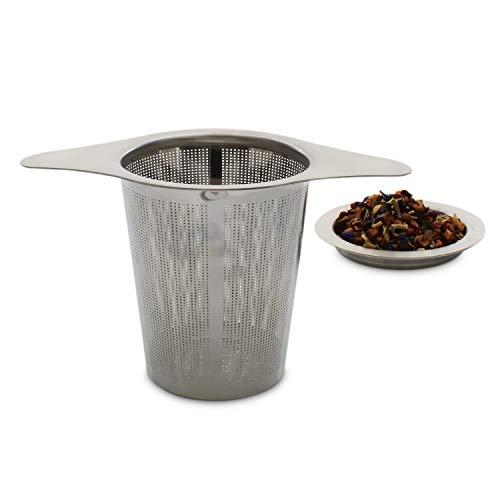 Infusor de té universal Teabloom con tapa posavasos - Se adapta a teteras, vasos y tazas estándar - Acero inoxidable de grado alimenticio 8/18 - De gran capacidad y con malla extrafina