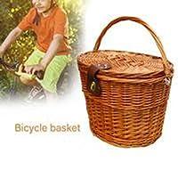 バイク織りバスケット、レザーストラップ付き防水耐久ウィッカー織り防水、ボーイズガールズバイク用の取り外し可能なフロントハンドルバークレートユニバーサル
