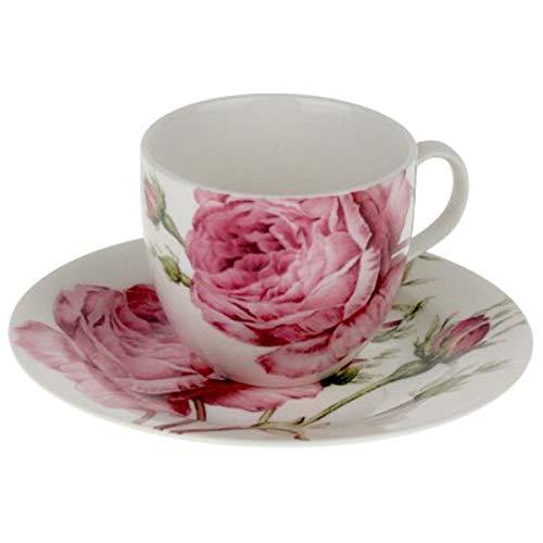 OPTIMA Porzellan Kaffeetasse mit Untetasse 12 teiliges Set mit Rosen-Motiv Rosen-Muster