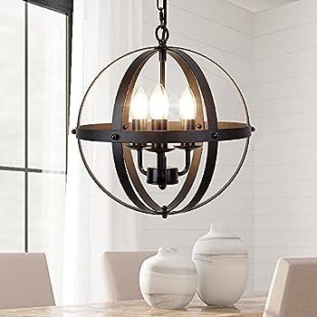 DLLT Vintage Pendant Hanging Light Flush Mount Ceiling Chandelier Lamp with Metal Spherical Shade for Kitchen Dining Room Living Room Hallway Bedroom Entryway 3-Light E12 Base-Matte Black