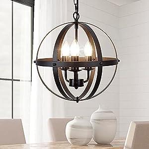 DLLT Vintage Pendant Hanging Light, Flush Mount Ceiling Chandelier Lamp with Metal Spherical Shade for Kitchen, Dining Room, Living Room, Hallway, Bedroom, Entryway 3-Light, E12 Base-Matte Black