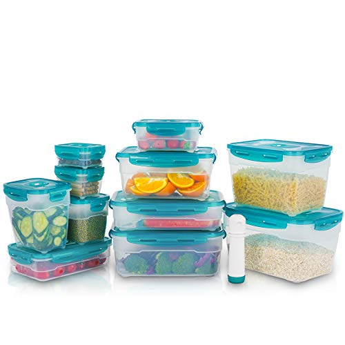 Vacuum Seal Food Storage Containers with Lids - 21 Piece Plastic Food Container Set with Lids - Airtight Food Containers BPA-free - Rectangle, Clear, SEIZON, SFHW-FS