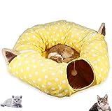 Authda Túnel para Gatos y Juguetes 2 en 1 Túnel para Gato con Tapete Central Suave para Cama de Gato Cama de Dormir Extraíble con Bolas y para Gato Cachorro Gatito Conejo