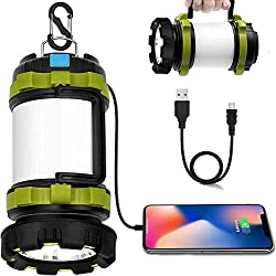 in budget affordable Wsky LED Camping Lantern Rechargeable Flashlight – T2000, High Luminous Flux, 6 Modes, Power 3600 mAh…