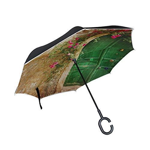 Double Layer Inverted Umbrella Klappansicht Einer Alten Straße mit Klappstuhl aus Stein Umbrella Reversable Umbrella Winddichter UV-Schutz für Regen mit C-förmigem Griff