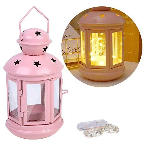 Asdomo, mini lanterne decorative, vintage da appendere, con tremolante LED a candela, con vetro temperato, lanterne da appendere, per centrotavola decorativo da tavolo