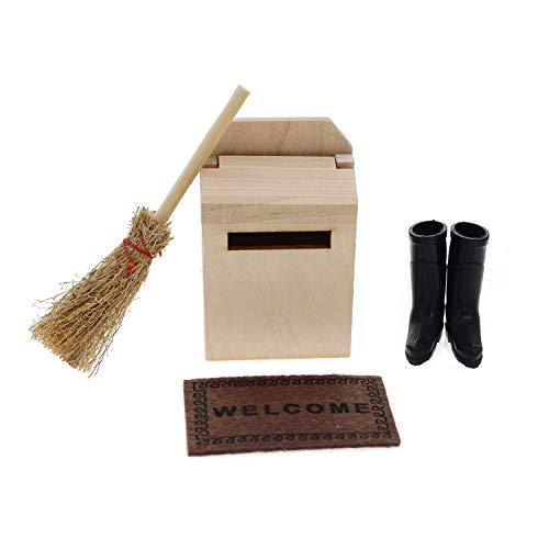 witgift Miniatur Puppenhaus Zubehör Mini Holz Briefkasten Besen Teppichdecke Schuhe Puppenstube Mikro Landschaft Ornament Möbel Deko
