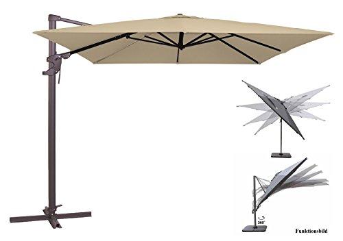 Madison Ampelschirm Monaco Flex 300x300 cm in Natur Ecru inklusive Ständer, sowohl axial als auch am Mast verstellbar, UV-Schutz 50 Plus
