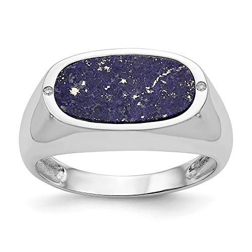 14ct oro blanco azul aventurina anillo de diamantes en bruto - tamaño T 1/2 - JewelryWeb