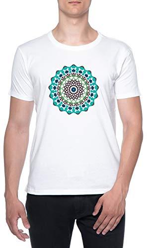 Multi Color Floral Mandala Blanco Hombre Camiseta Mangas Cortas Tamaño XL Mens T-Shirt White Size XL