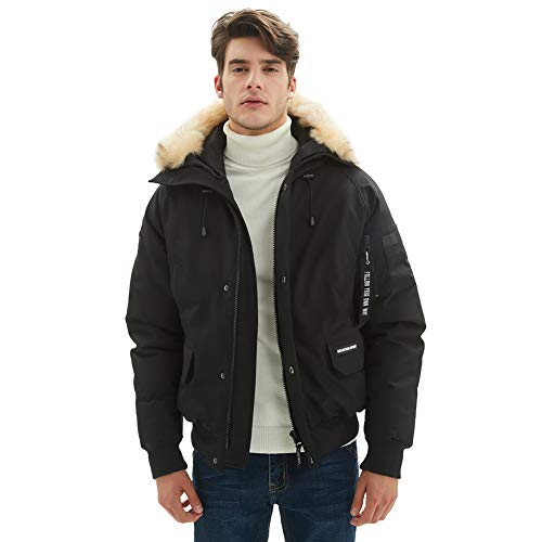 Mens Winter Club Coats Jacket, PUREMSX Superior Extremely Cold Weather Warm Heavy Weight Classic Insulated Short Bomber Flight Coats Fur Hoods Spring Gifts for Husband,Black,X-Large