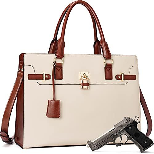 BOSTANTEN Briefcase for Women Leather Laptop Handbag 15.6 Inch Computer Bag Shoulder Work Tote Stylish Beige