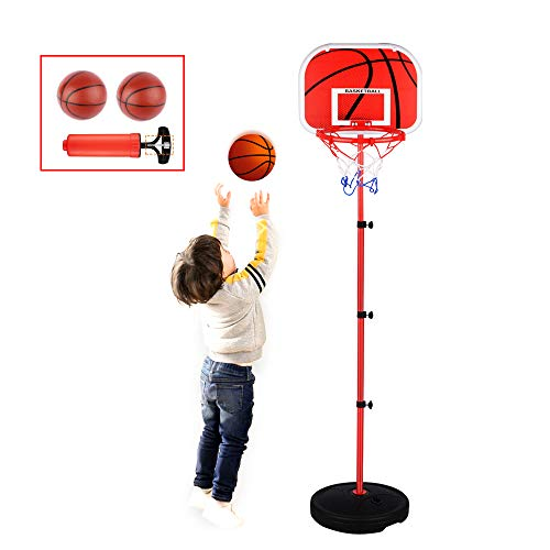 Basketball Hoop for Kids Stand Set,Adjustable Height 2.5 ft -5.1 ft, Mini Indoor Basketball Goal Toy with Ball Pump for Baby Kids Boys Girls Outdoor Play Sport for Age 3 4 5 6 Years Old