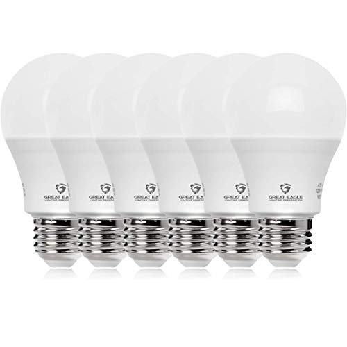 Great Eagle 100W Equivalent LED Light Bulb 1500 Lumens A19 5000K Daylight Non-Dimmable 15-Watt UL Listed (6-Pack)