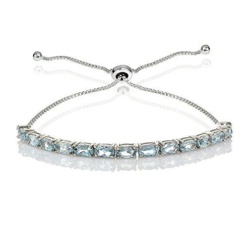 Argento sterling Choice FO gemma ovale regolabile braccialetto Bolo pull-string e Argento, colore: Blue Topaz, cod. B14977BT