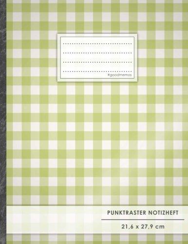 "Punktraster Notizbuch • A4-Format, 100+ Seiten, Soft Cover, Register, ""Grünes Karomuster"" • Original #GoodMemos Dot Grid Notebook • Perfekt als Skizzenbuch, Tagebuch, Handlettering Übungsbuch"