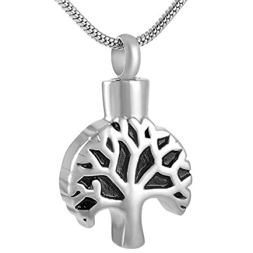MITIAN Collar de acero inoxidable 316L con colgante de urna de cremación para hombres y mujeres